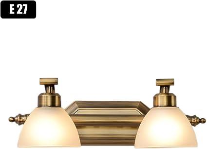 ACHNC Spiegelleuchte Bad Vintage,E27 Wandlampe Badezimmer Spiegellampe Schminktisch Schminklicht Badlampe Retro Mit Glas Lampenschirm,Badleuchte Wand Schlafzimmer Schrank Spiegel Beleuchtung,40CM