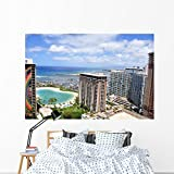 Waikiki Beach Oahu Hawaii Wall Mural by Wallmonkeys Peel and Stick Graphic (72 in W x 48 in H) WM323878