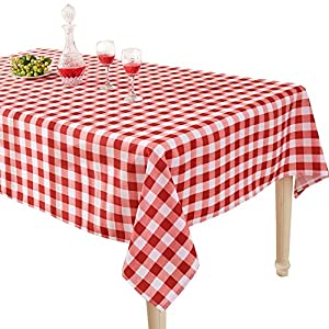 YEMYHOM Modern Printed Spill Proof Cloth Rectangle Tablecloth (60 x 104, Red and White)