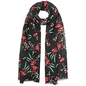 Tamaris Bufanda de Flores Miralia con flecos pañuelo mujer (talla única - negro) | DeHippies.com