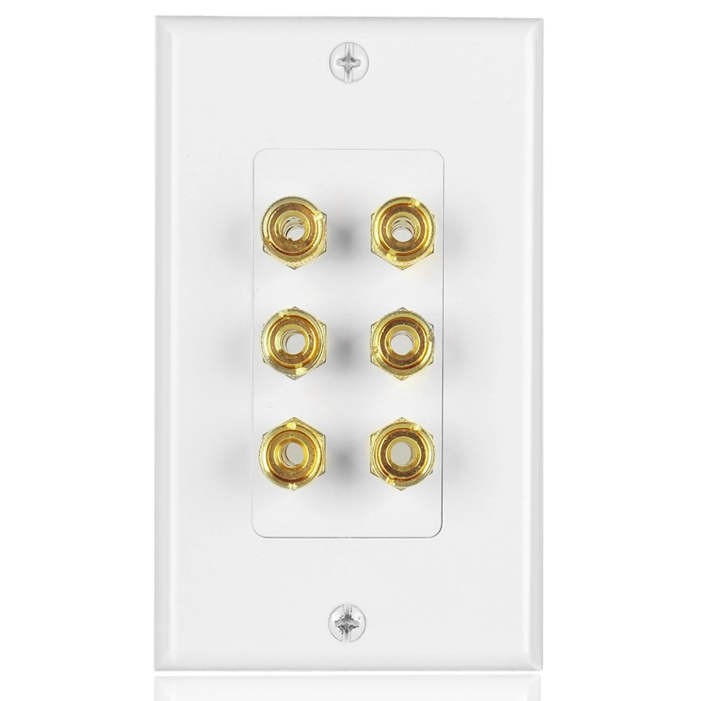TNP Home Theater Speaker Wall Plate Outlet - 3 Speaker Sound Audio Distribution Panel Gold Plated Copper Banana Plug Binding Post Connector Insert Jack Coupler (3 Pair, Single Gang, White)