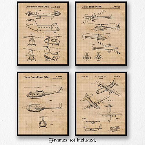 Classic Military Airplanes-Helicopters Art Poster Prints- Set of 4 (Four 8x10) Unframed Photos- Great Wall Art Decor Gifts Under $20 for Home, Office, Man Cave, Garage, Student, Teacher, US Veterans