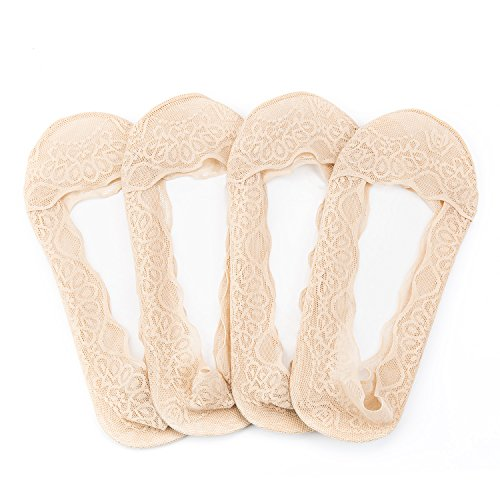 Jamie D&D 4 Pairs Women Lace Cotton No Show Liner Socks Low Cut Casual Invisible Non-Skid Boat Socks ()