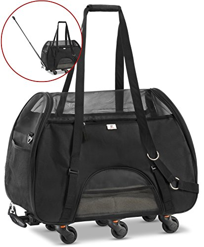 WPS Wheeled Airline Approved Pet Carrier for Small Pets. Newly Upgraded Structural Design For Ultimate Strength.Removable Plush Mat. Cozy, Compact and Durable 19″x22″x11″