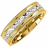 14K Two Tone Gold Carved Women's Comfort Fit Wedding Band (6mm)