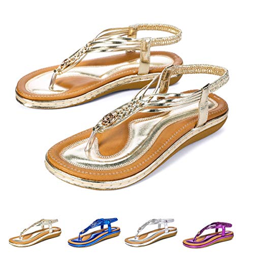 gracosy Women Summer Flat Sandals Slingback Ankle Strap Sandals Clip Toe Beach Walking Flip Flops Bohemian Braided Dress Shoes Gold -