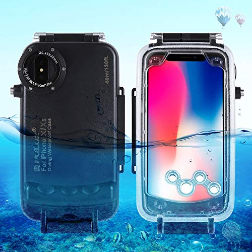 PULUZ for iPhone X & XS 40m/130ft Waterproof Diving Housing Case for Surfing Swimming Photo Video Taking Underwater Cover (Black)