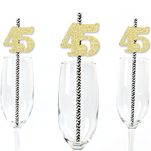 Big Dot of Happiness Gold Glitter 45 Party Straws - No-Mess Real Gold Glitter Cut-Out Numbers & Decorative 45th Birthday Party Paper Straws - Set of 25 Big Glitter Dots