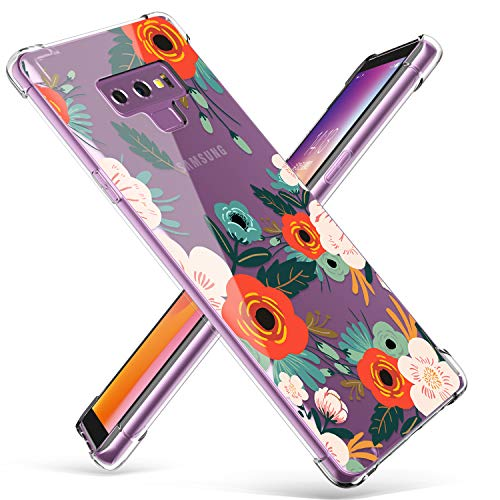Samsung Galaxy Note 9 Case, GVIEWIN Ultra-Thin Flower Pattern Design Shockproof Technology Bumper Soft & Flexible TPU Case for Note 9, Floral Blooming