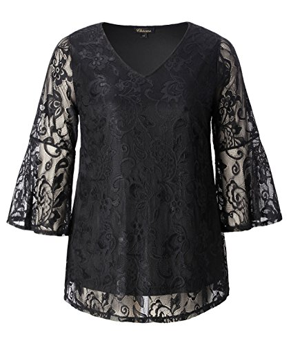 Chicwe Women's Plus Size Stretch Romantic Lace Tunic Top with V Neck Black 2X by Chicwe