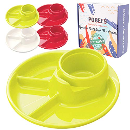 Reusable Party BBQ Plastic Plates - 2019 Zero Waste Divided Plates,BPA Free,Dishwasher,Unbreakable, Non-Toxin for Camping Outdoor Kids Adults, 5 Plates and 2 Mesh Produce Bags (2 Green 1 White 2 Red)