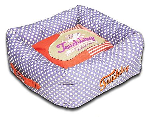(TOUCHDOG 'Polka-Striped' Polo Easy Wash Squared Fashion Designer Pet Dog Bed Lounge, Large, Orange, Lavender)
