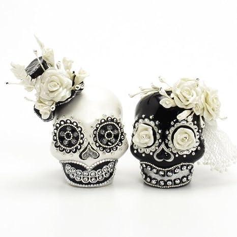 Blanco Y Negro Gótico Calavera Día De Muertos Tarta Gótico Tema