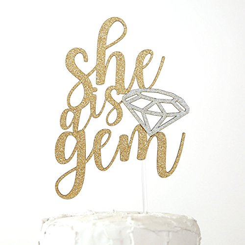 Gem Embellishment (NANASUKO Party Cake Topper - she is a gem - Premium quality Made in USA - double sided gold glitter with diamond embellishment)