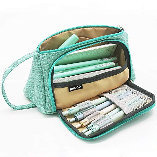 Big Capacity Pencil Case Bag Pen Pouch Holder Large Storage Marker Stationery Organizer Box for Middle High School Office College Teen Girls Adult Green