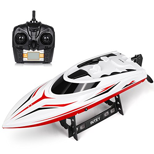 INTEY RC Boats - H105 RC Boat for Adults and Kids 43.7CM Large Remote Control Boats for Pools & Lakes with 2 1500MAH Charged Battery