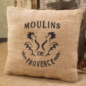 Moulins de Provence - French Flea Market Burlap Accent Throw Pillow - 8-in x 8-in