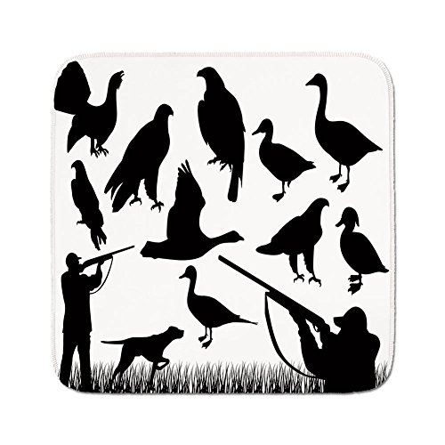 Silhouette Grass - Cozy Seat Protector Pads Cushion Area Rug,Hunting Decor,Silhouettes of Wild Animals and Huntsman Grouse Mallard Duck Eagle Grass Decorative,Black and White,Easy to Use on Any Surface