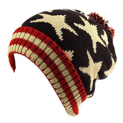 D&Y Holiday Americana Star Beanie Hat-Navy (Knit Star Beanie)