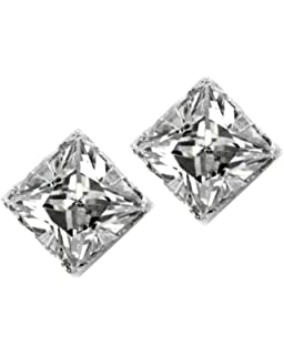 a8394493c No Piercing Magnetic Stud Earrings Men Square CZ Princess Cut Silver 4mm