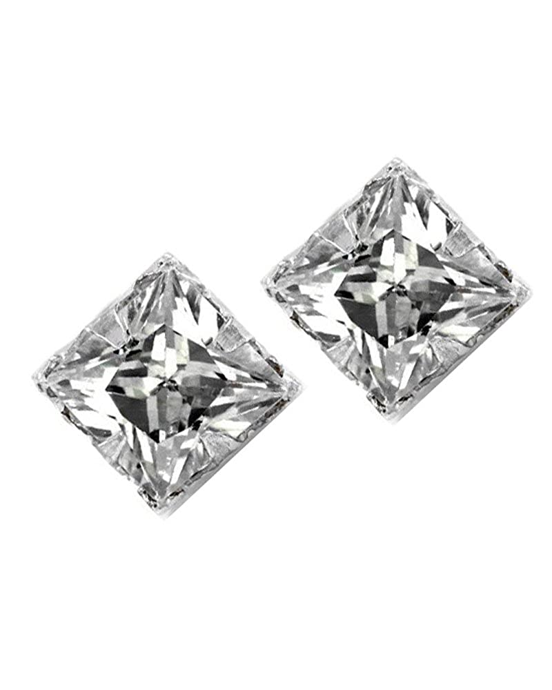 Amazon.com  Square Princess Cut Clear CZ Magnetic Men Sterling Silver Stud  Earrings 4mm  Magnetic Earing  Jewelry a3368d4d63
