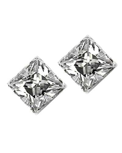 Amazon Com No Piercing Magnetic Stud Earrings Men Square Cz