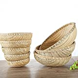 wellhouse Natural Bamboo Straw Woven Round Bread Roll Baskets Food Serving Baskets Fruits Storage Containers Draining Plate Round with Height