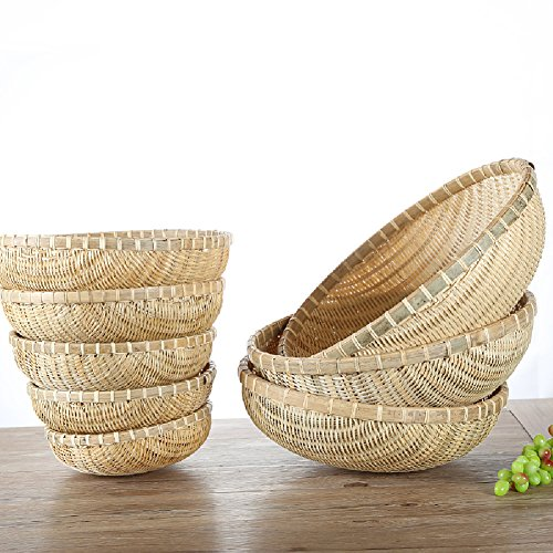 wellhouse Natural Bamboo Straw Woven Round Bread Roll Baskets Food Serving Baskets Fruits Storage Containers Draining Plate Round with Height by wellhouse (Image #1)