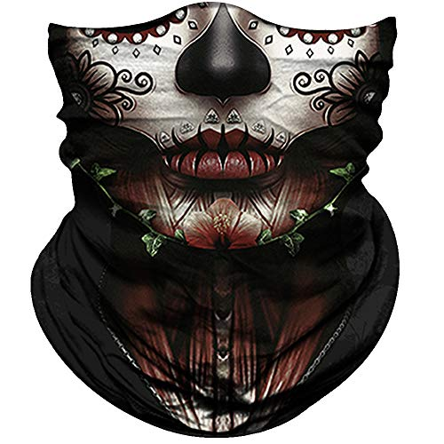 Obacle Skull Face Mask for Women Dust Wind UV Sun Protection Seamless Bandana Face Mask for Rave Festival Motorcycle Riding Biker Fishing Outdoor Running 3D Tube Mask (Women Chin Flower Leaves Green)