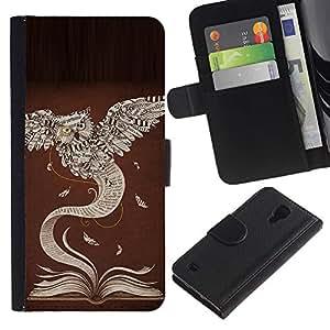 ZCell / Samsung Galaxy S4 IV I9500 / Book Owl Learning Teacher School / Caso Shell Armor Funda Case Cover Wallet / Libro búho aprendizaje
