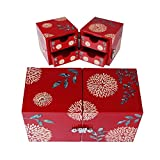Ruby Mother of Pearl Jewelry Box, Twin Cube Wood Trinket Organize, Red, 5.7'' x 2.8'' x 2.9''