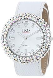 TKO ORLOGI Women's TK618WT Leather White Crystal Slap Watch