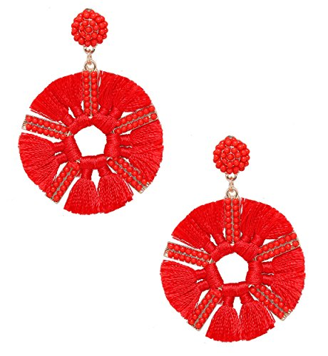 (HSWE Round Beaded Tassel Earrings for Women Statement Drop Earrings Handmade Beads Dangle Earrings (Bright Red))