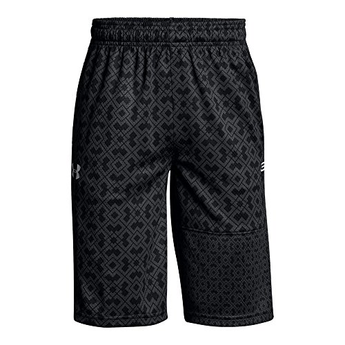 Under Armour Boys' SC30 Novelty Shorts, Black (001)/White, Youth Small