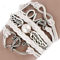 Amesii donna Love Heart Wing Decor intrecciato strap cute infinity ciondolo braccialetto DIY