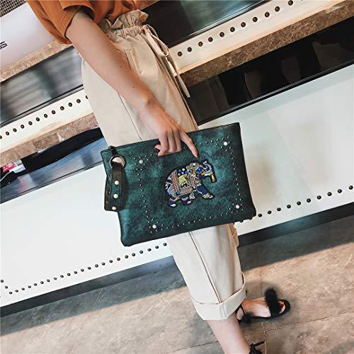 Envelope Rivet Leather Green Clutch for Women Zipper Purses Handbags Wristlet with 7R7fTr
