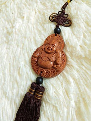 TIYANA Chinese Wood Carving & Buddha Beads Chinese Halloween Gifts Statue Sculpture Amulet Car Pendant Netsuke, 1 PC, Happy Buddha