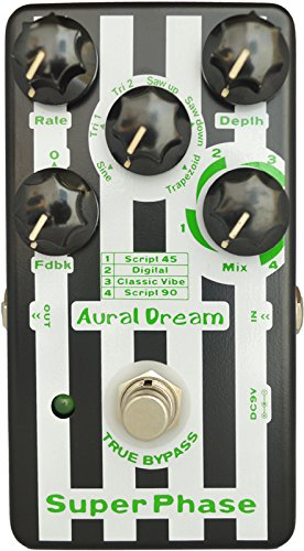 Aural Dream Super Phase Guitar Effect Pedal with 4 modes and 6 waves including 2 feedback modes reaching 48 phase effects true bypass by Aural Dream