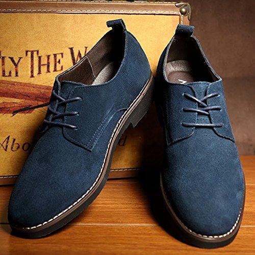 Uomo Pelle PU stile scamosciato particolarmente Extra Blu Grande casuale 48 Dimensione Inghilterra scarpe Bebete5858 Uomini 81SzqC