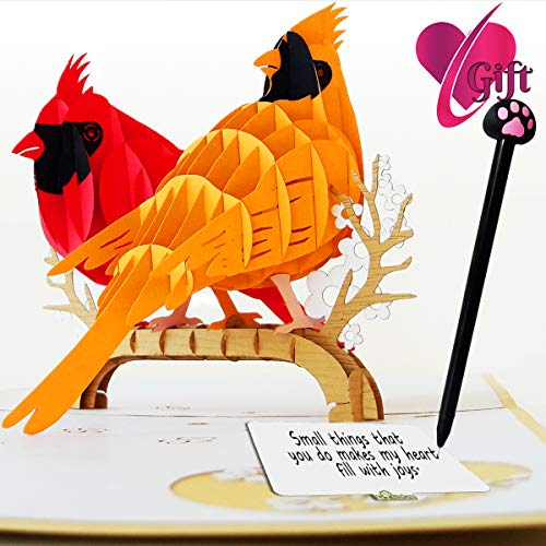 LCNature 3D Pop Up Cards | Cardinal Bird Cards Anniversary | Pop Up Birthday Card | Pop Up Card for Christmas, Valentines, Mother's Day, Birthday, New Year, Baby, Wedding