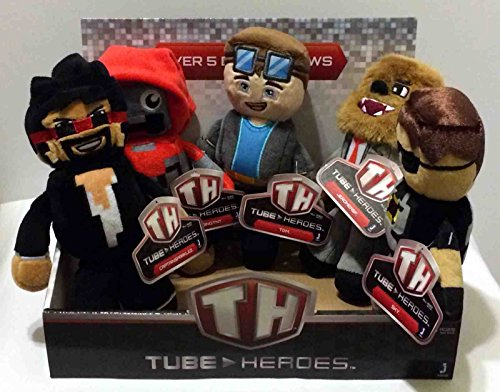 "Tube Heroes 7"" Plush Figures Toys Complete Set of 5 Including: TDM, SkY, JEROMEASF, CAPTAINSPARKLEZ and EXPLODINGTNT with Display Box"