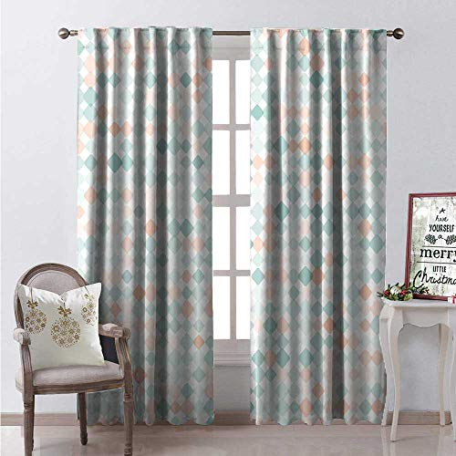 Hengshu Contemporary Thermal Insulating Blackout Curtain Rhombus Squares Tile Art Geometric Melange Inspirations Mosaic Pattern Blackout Draperies for Bedroom W96 x L96 Mint Green Peach