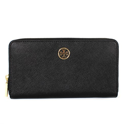 Tory Burch Robinson Saffiano Leather Zip Around Continental Wallet (Black) by Tory Burch