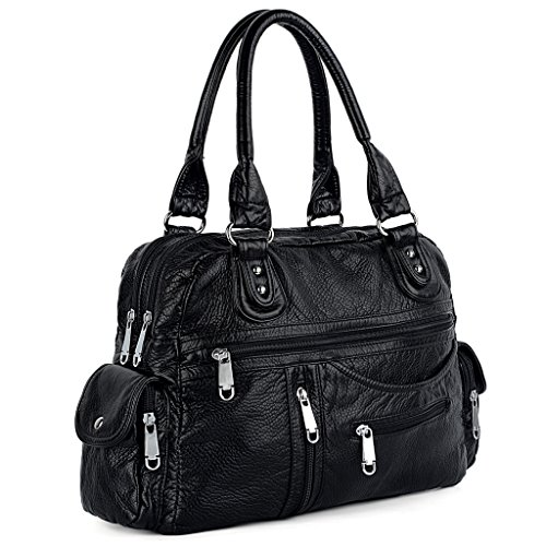 Double Front Pocket Handbag - UTO Women Handbag PU Leather 3 Front Zipper Washed Shoulder Bag Black