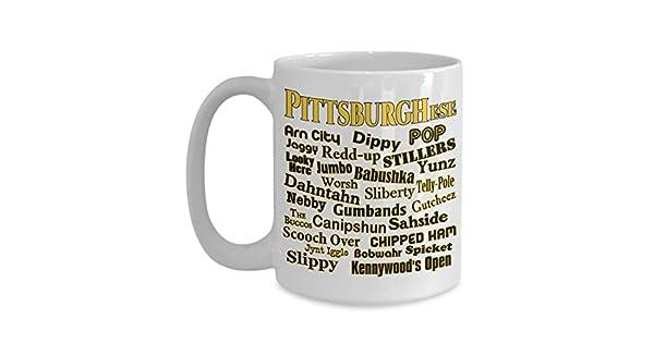Amazon.com: Antspuent Pittsburghese – Taza de café blanca de ...