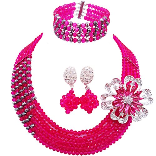 (aczuv 5 Rows Nigerian Beads Jewelry Set African Beads Necklace Wedding Party Jewelry Sets (Hot Pink Silver))