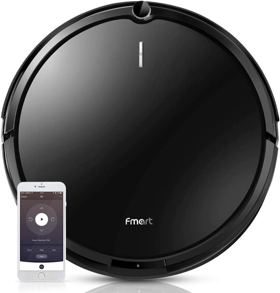 Fmart X1 1800pa Robot Aspirador con aplicación de mapeo y conexión Wi-Fi para Pelo Largo de Animales, alfombras, Azulejos, Pisos Duros, 4 modificaciones de Limpieza