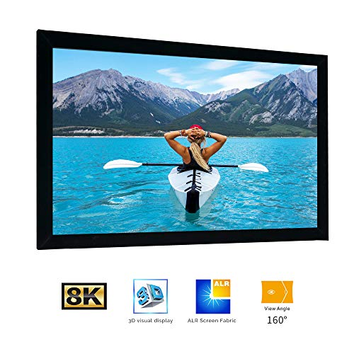 SCREENPRO Fixed Frame Projector Screen 100-inch Diagonal 16:9, Active 3D 4K Ultra HD Ready for Indoor/Outdoor,Home Theater (16:9, 100