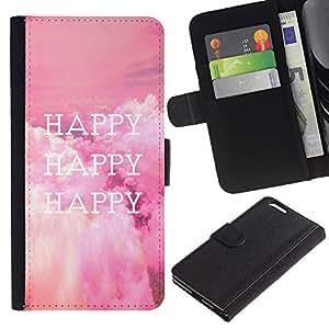 LASTONE PHONE CASE / Lujo Billetera de Cuero Caso del tirón Titular de la tarjeta Flip Carcasa Funda para Apple Iphone 6 PLUS 5.5 / Happy Life Quote Happiness Lifestyle Positive