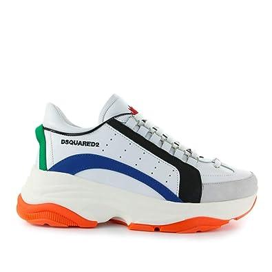 f5116c79ae0 Dsquared2 Chaussures Homme Baskets Bumpy 551 Blanc Bleu Orange SS ...